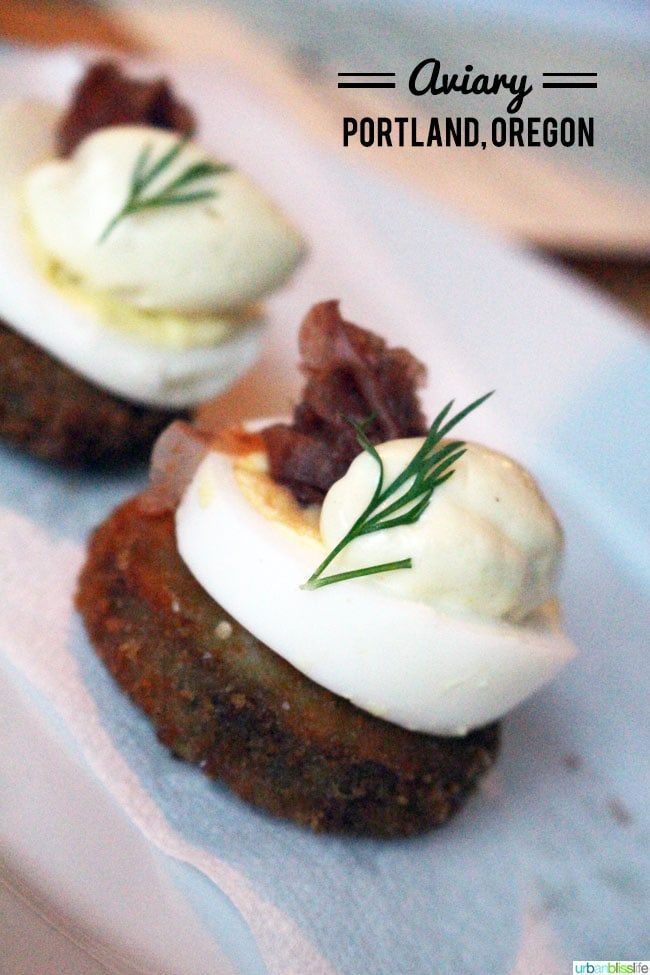 Trotters and eggs at Aviary restaurant Portland, Oregon