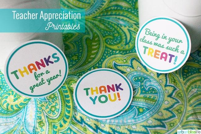 Teacher Appreciation Rainbow Treat Printables