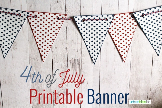 4th of July Printable Banner on UrbanBlissLife.com