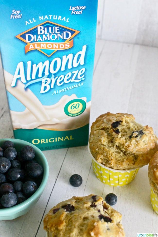 blue diamond almond milk with blueberry muffins