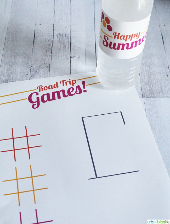 Free Summer Printables: Road Trip Games and Water Bottle Label