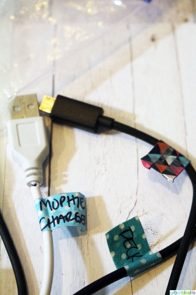 Washi Tape Chargers DIY idea on UrbanBlissLife.com