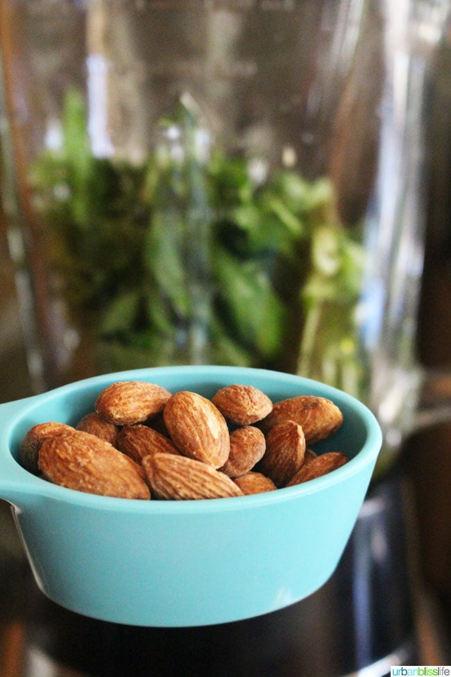 almonds in measuring cup
