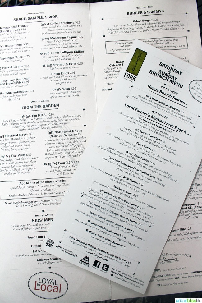 Fork Restaurant in Boise, Idaho menu