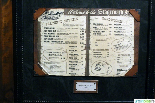 Stagecoach Inn restaurant in Boise, Idaho menu