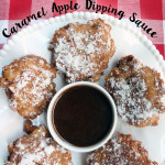 Apple Fritters with Caramel Apple Dipping Sauce recipe on UrbanBlissLife.com
