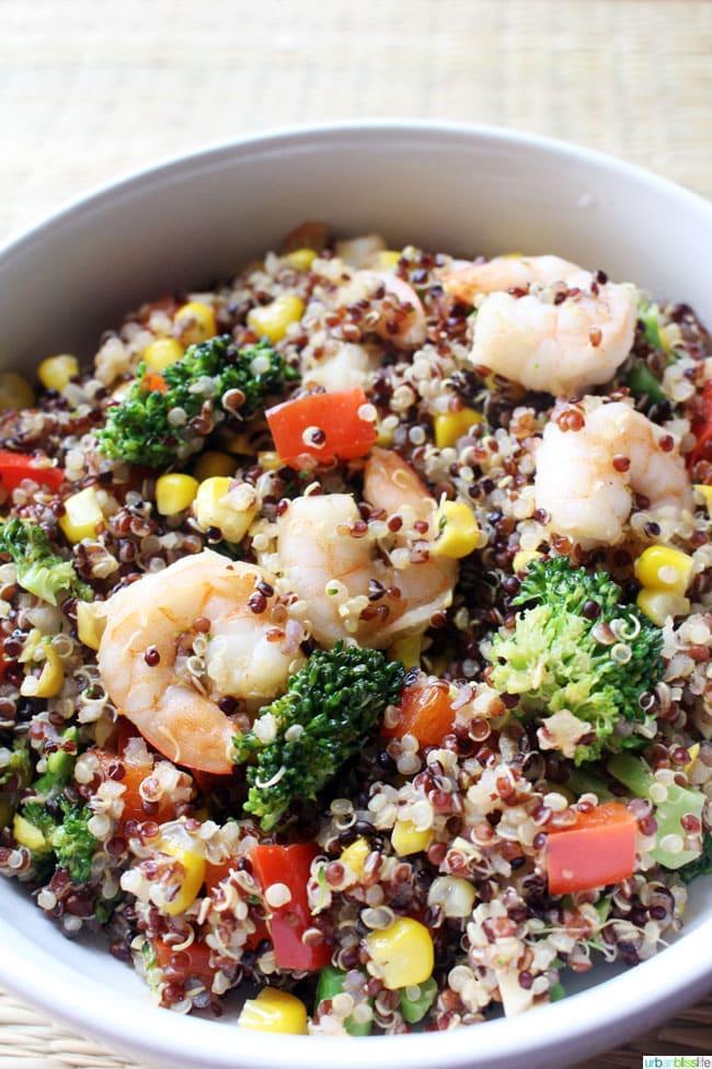 Shrimp & Veggie Quinoa Bowl recipe on UrbanBlissLife.com