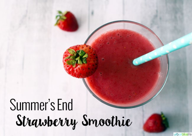 Summer's End Dairy Free Strawberry Smoothie on UrbanBlissLife.com