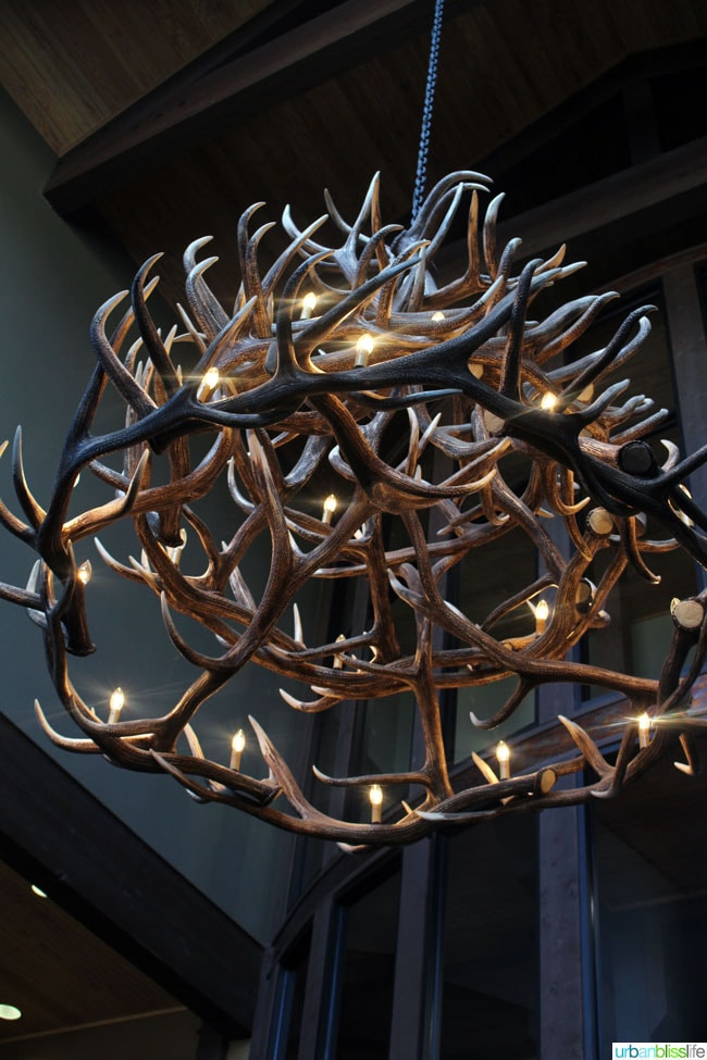 antler chandelier at red lion hotel in Kalispell Montana