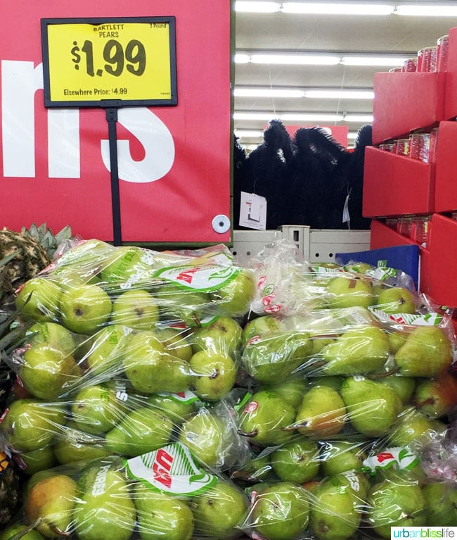 pears in a store