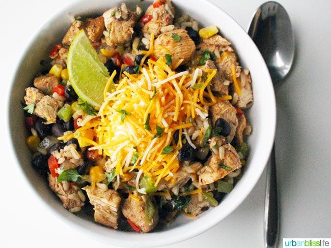Chicken Fajita Bowls recipe on UrbanBlissLife.com