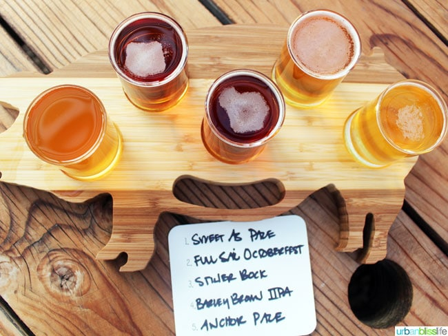 Pine Shed Ribs beer sampler