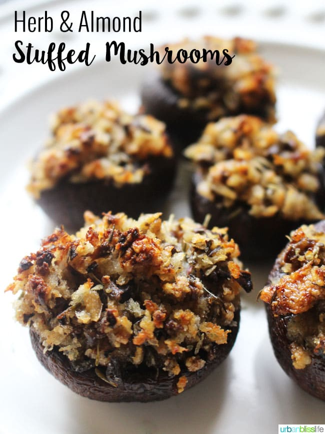 Herb and Almond Vegan Stuffed Mushrooms by UrbanBlissLife.com