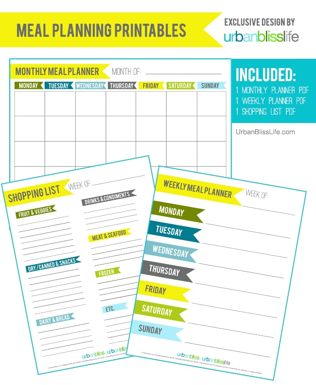 Printable meal planner set