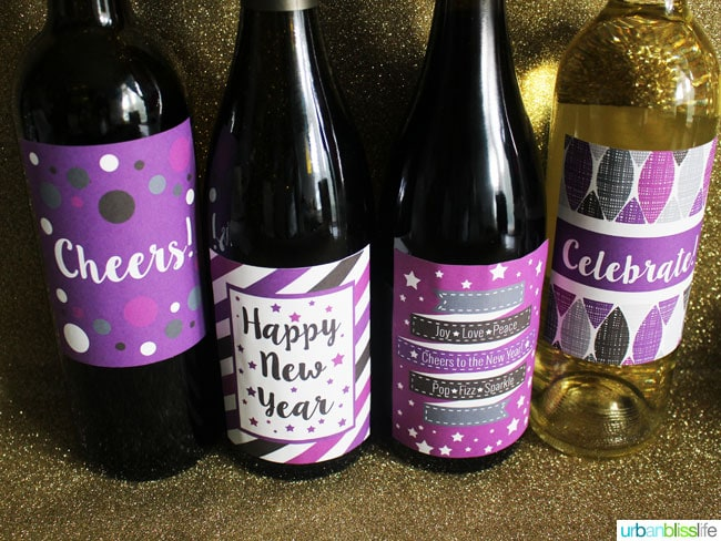 New Year's Eve Wine Label Printables by UrbanBlissLife.com