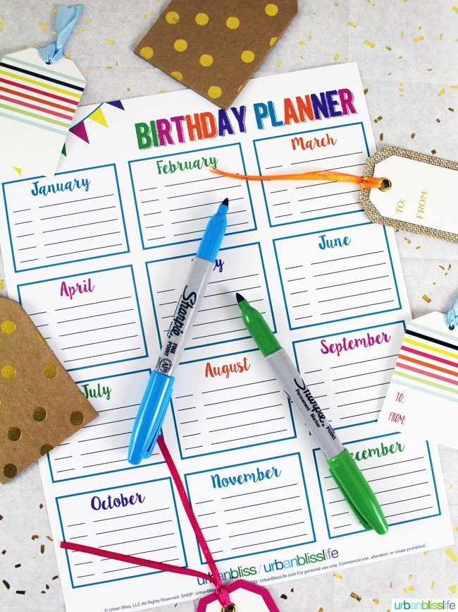 Printables Bliss: Get Organized in 2016 With Printable Meal Planners & Birthday Planners
