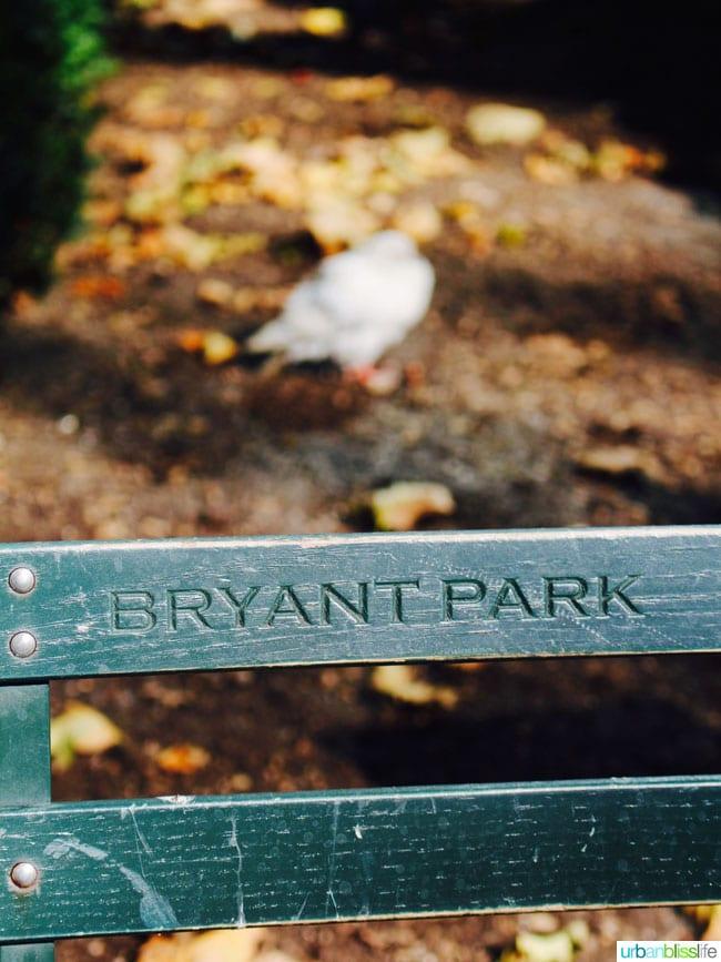 bryant park bench