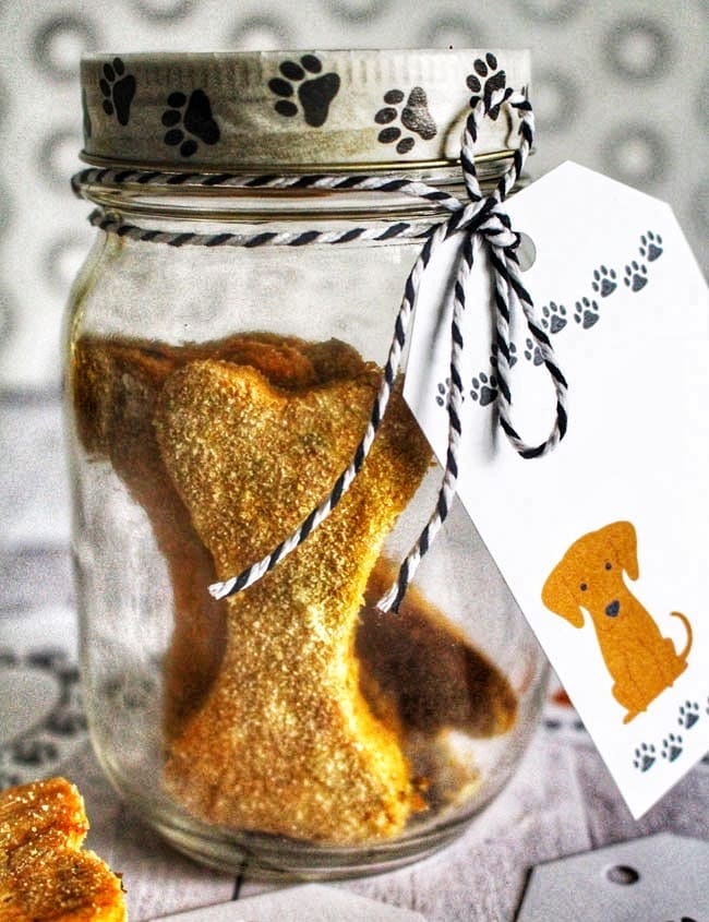 mason jar gift of peanut butter pumpkin dog treats