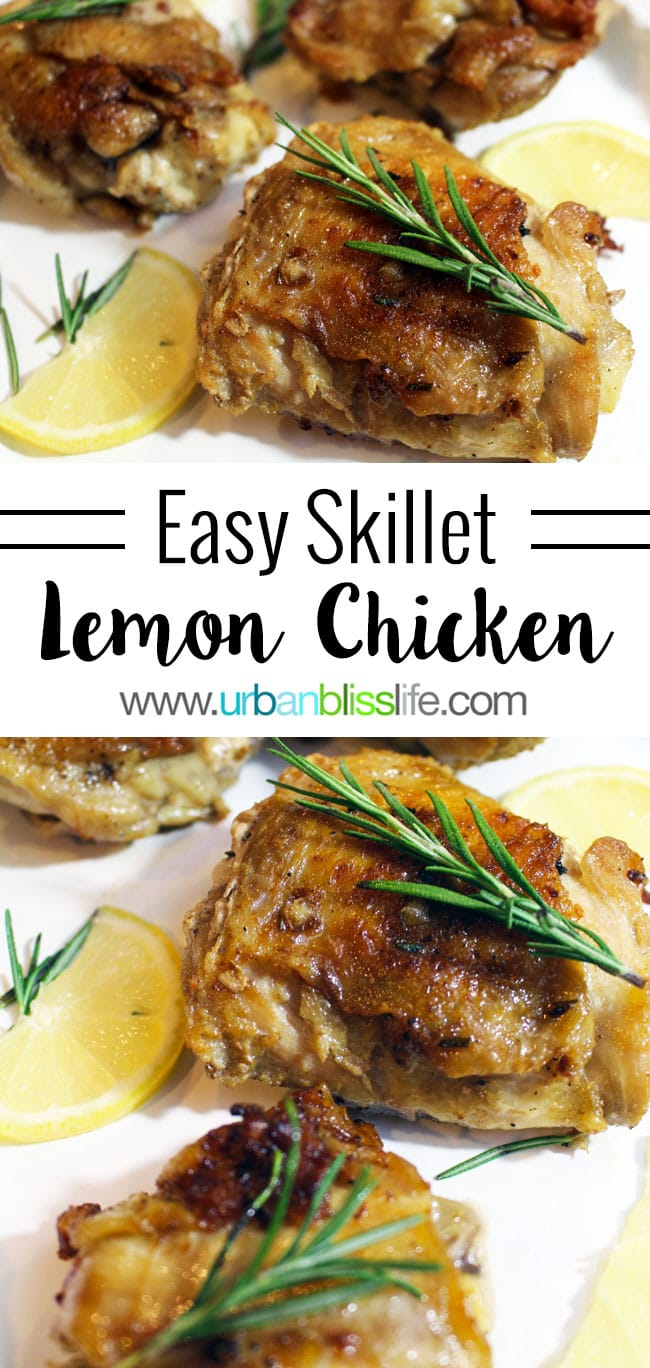 Easy Skillet Lemon Chicken recipe on UrbanBlissLife.com
