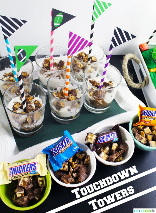 Snickers Touchdown Tower Game Day recipe on UrbanBlissLife.com