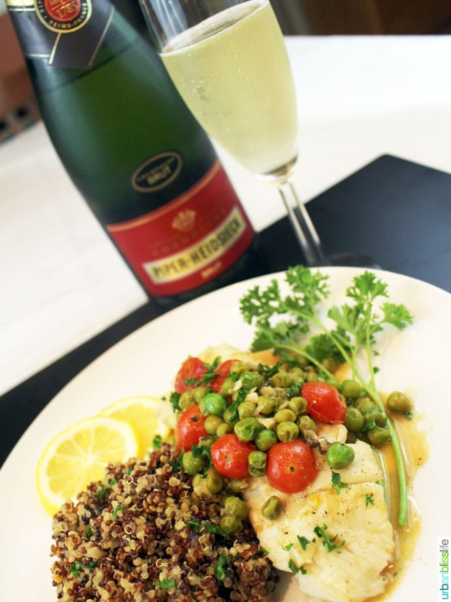 halibut and sparkling wine