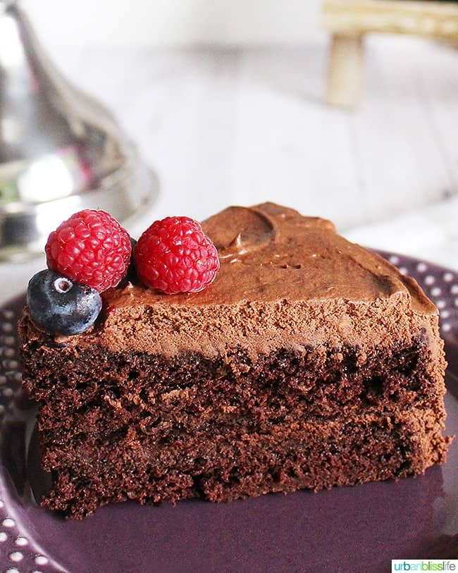 easy vegan chocolate cake big slice