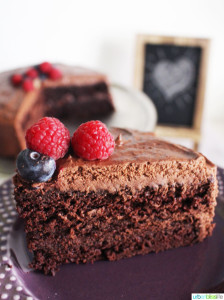 Easy Vegan Chocolate Cake slice on plate