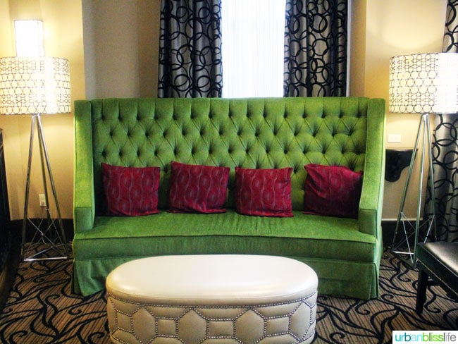 plush green couch
