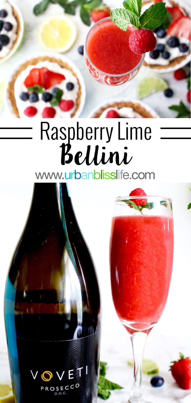 Raspberry Lime Bellini cocktail recipe in UrbanBlissLife.com