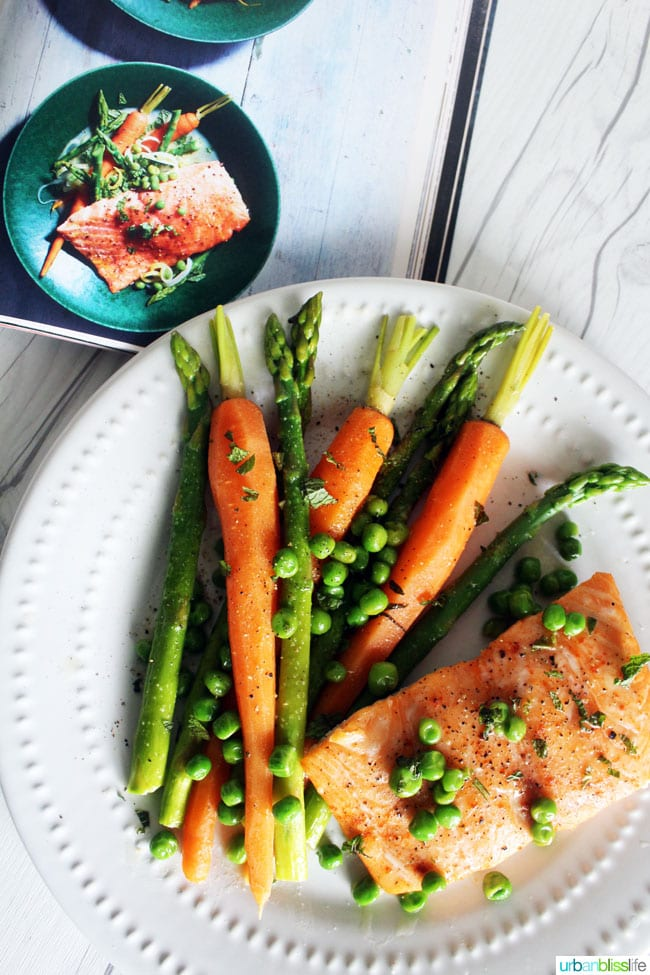 Salmon with Spring Vegetables recipe on UrbanBlissLife.com