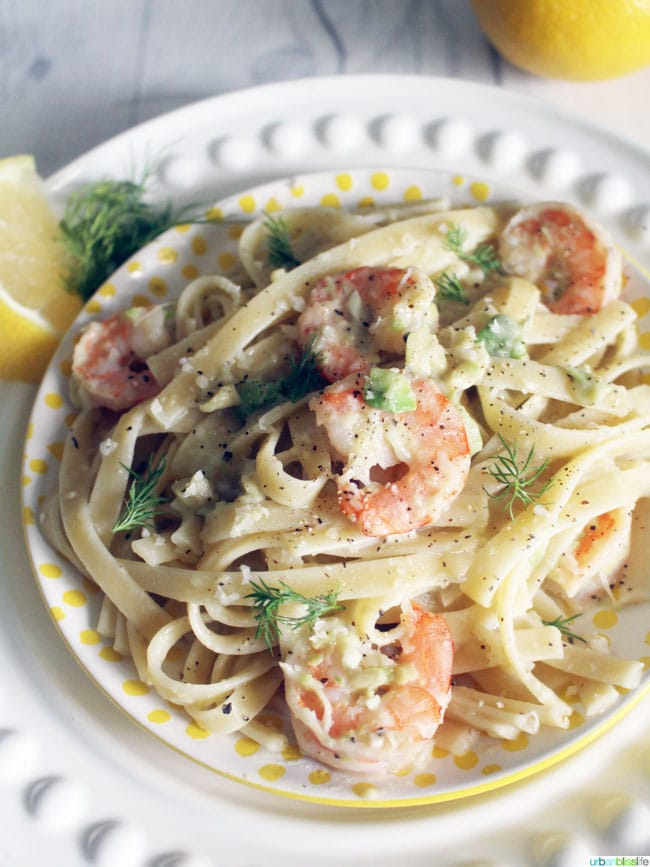 Shrimp avocado pasta on plate