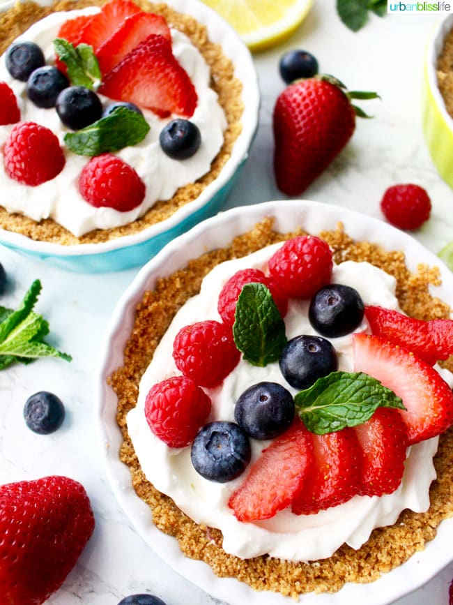 Mini Fruit Tarts with strawberries and blueberries