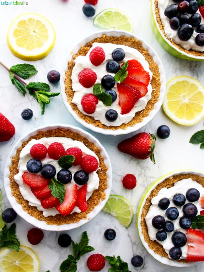 Mini Fruit Tarts with strawberries, blueberries, lemon and lime