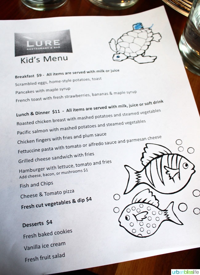 Kids menu at Lure Restaurant in victoria bc