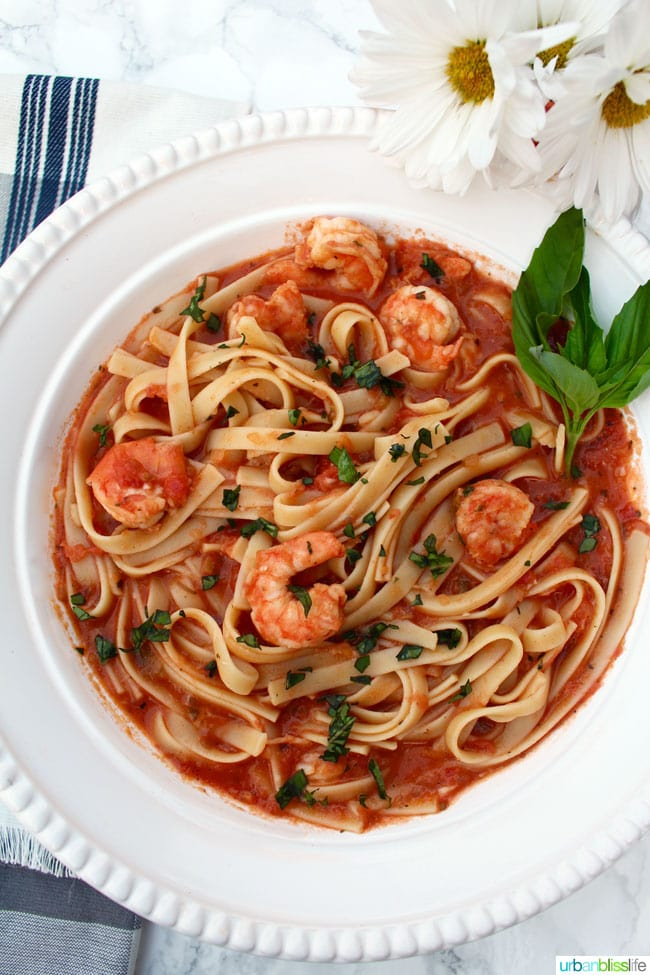 Shrimp Fettucine with Vodka Tomato Sauce recipe on UrbanBlissLife.com
