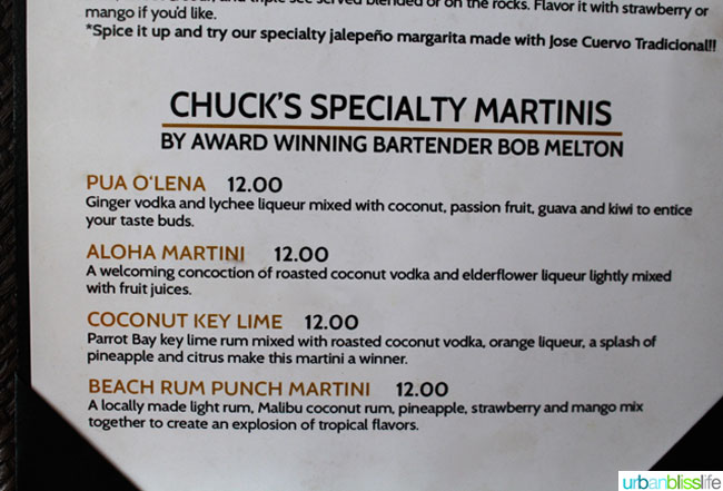 martini menu