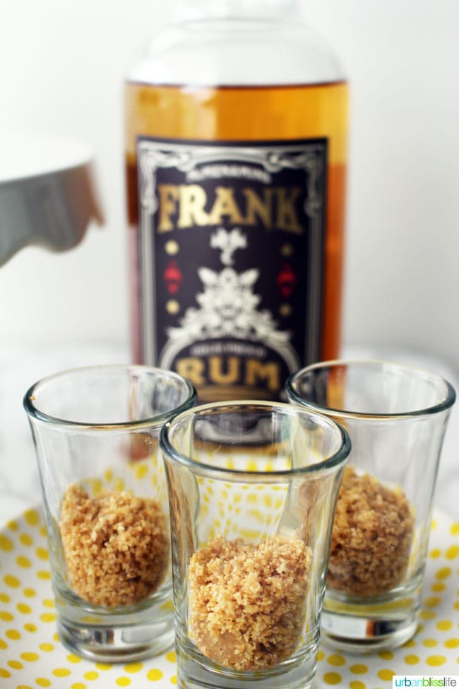 graham cracker crumbs in shot glasses