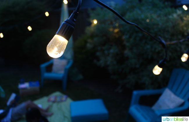 tiny backyard ideas: string lights