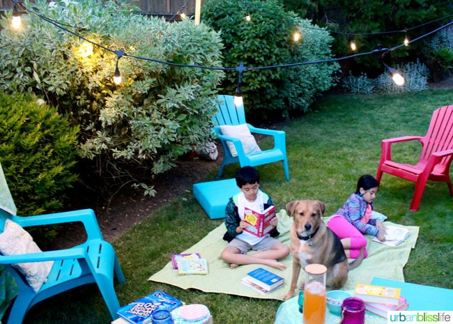 creating a cozy outdoor summer reading space on urbanblisslifecom - Backyard Entertaining Ideas