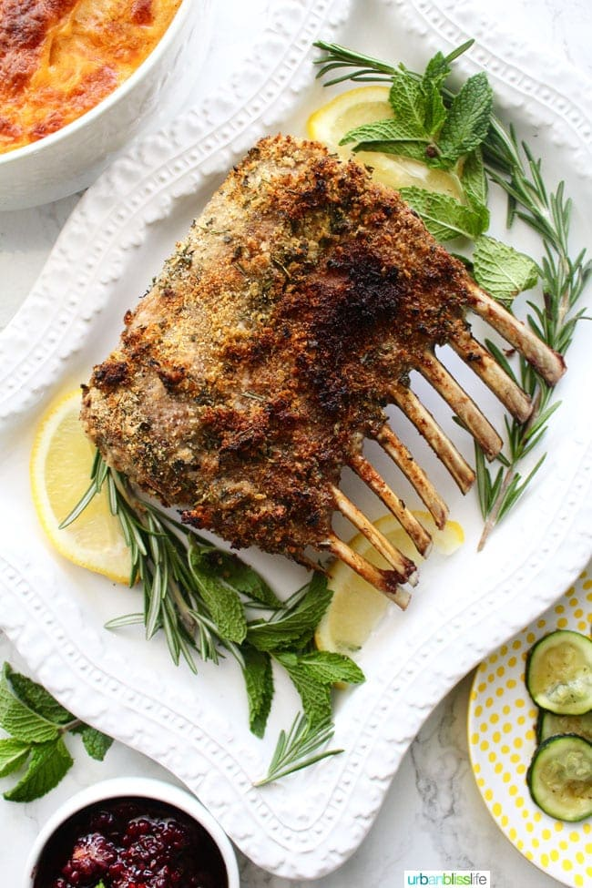 Herb Crusted Rack of Lamb with Blackberry Balsamic Sauce