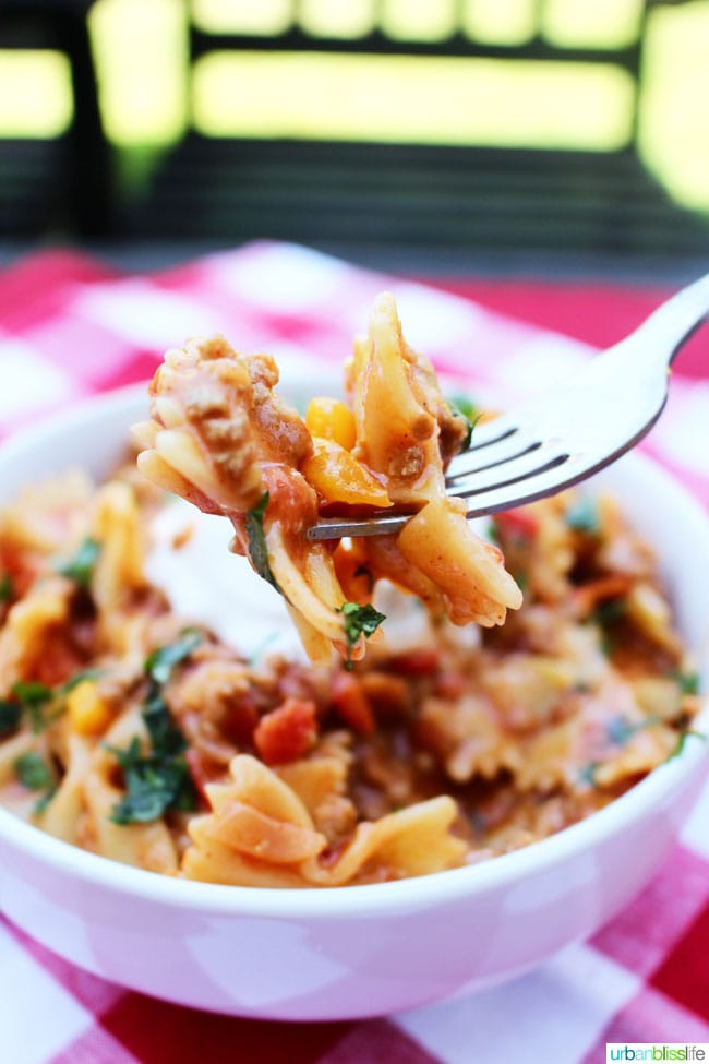 Taco Pasta recipe on UrbanBlissLife.com