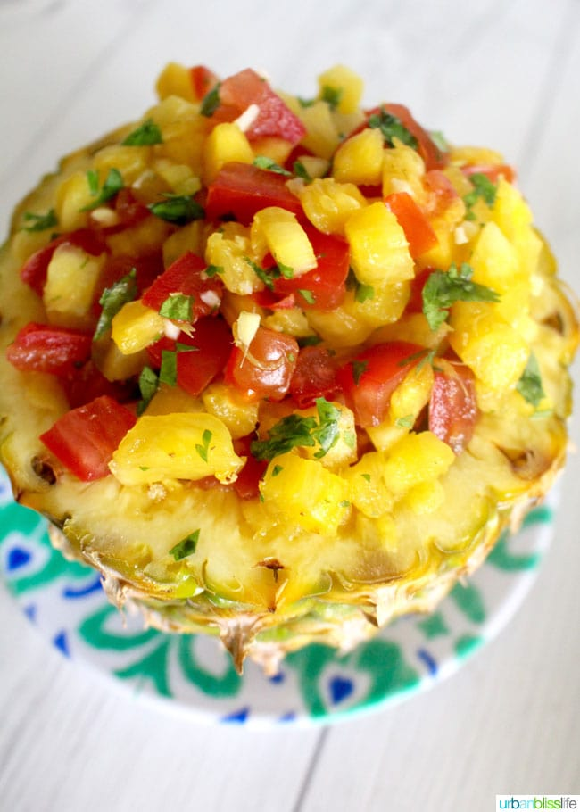 pineapple mango salsa close up