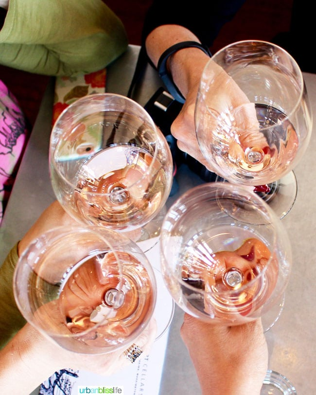 people toasting with rose wine