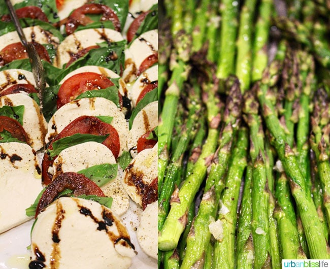 asparagus and caprese salad