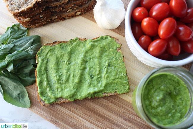 delicious creamy avocado pesto on toast