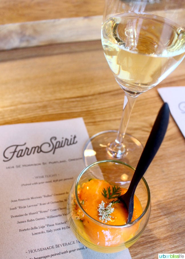 glass of white wine at Farm Spirit in Portland, Oregon
