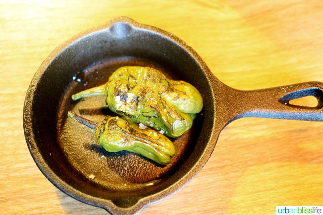 smoked artichoke stuffed padron at Farm Spirit in Portland, Oregon