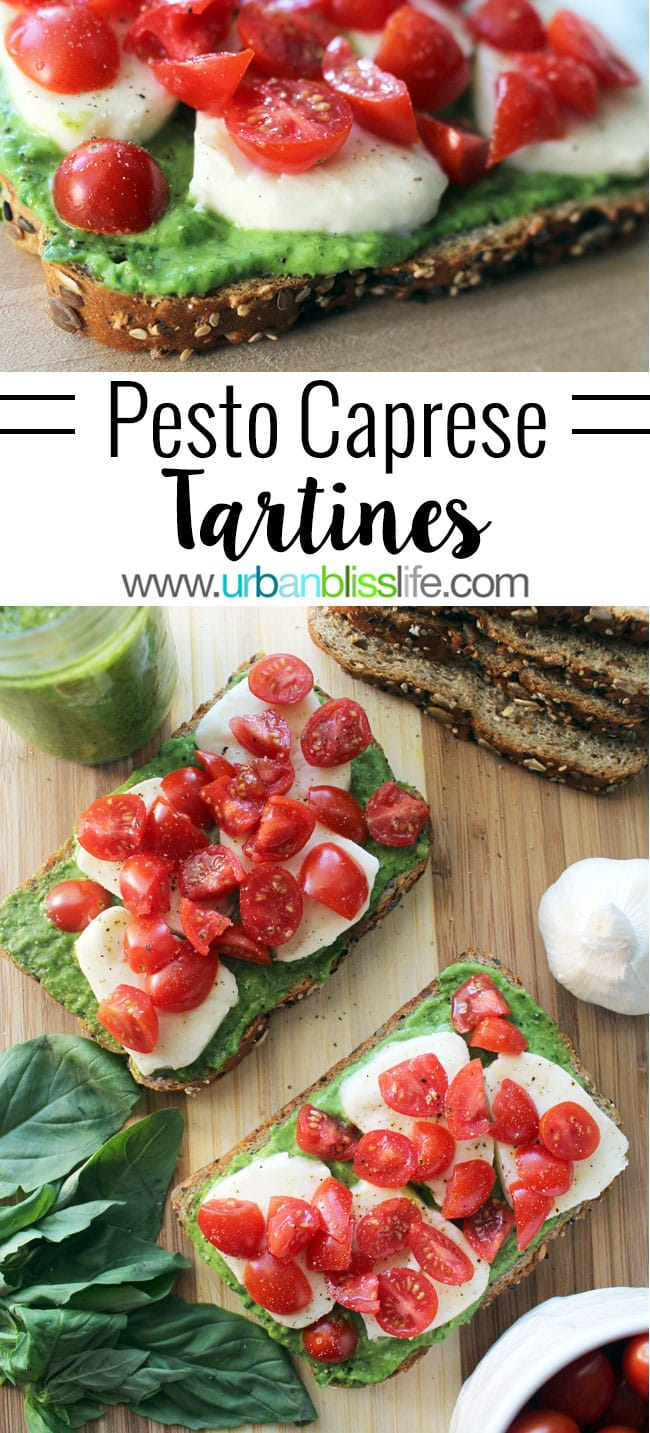 Pesto Caprese Tartine Recipe - The perfect open-faced sandwiches to serve for lunch or dinner, or as party appetizers, UrbanBlissLife.com
