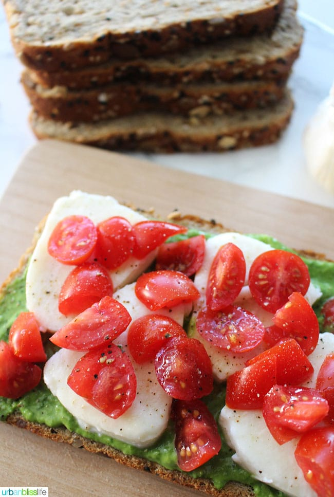 Pesto Caprese Tartines recipe - cherry tomatoes, cheese and pesto avocado sauce