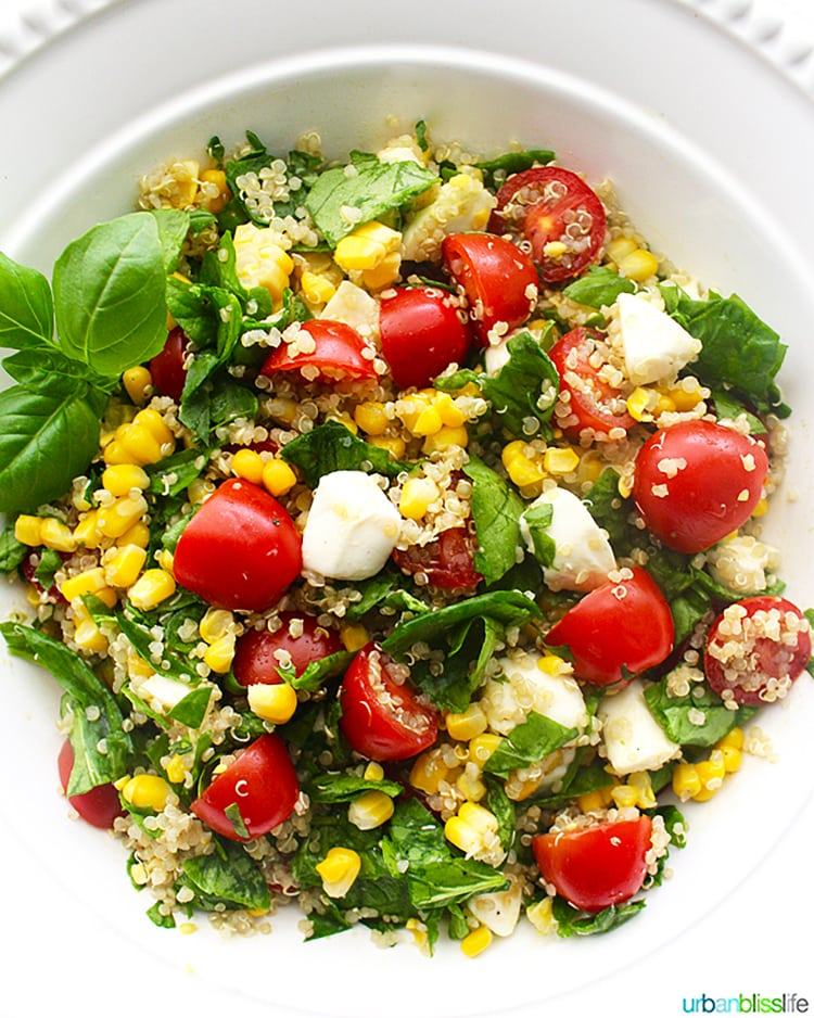 Summer Corn Quinoa Caprese Salad
